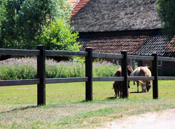 Weidezaun schwarz gestrichen - Holz Koppelzaun , Weidezaun stecksystem