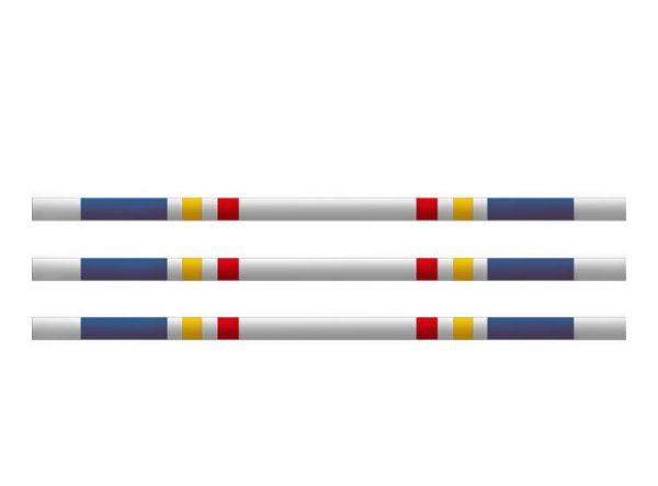 Hindernissen - houten balk blauw-geel-rood