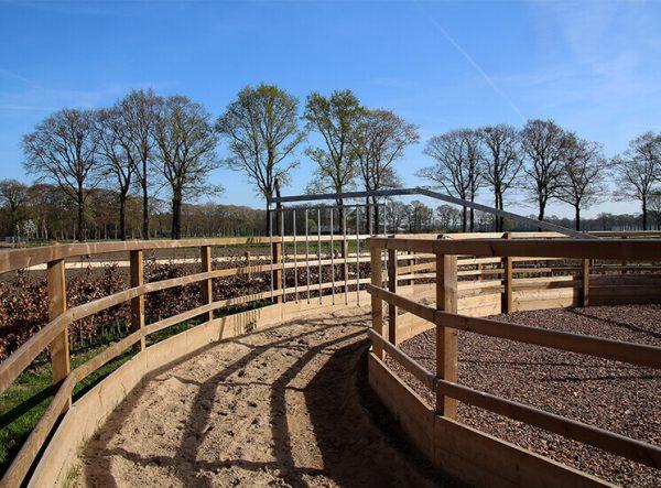 führanlage mit Holz Umzäunung - für Pferde